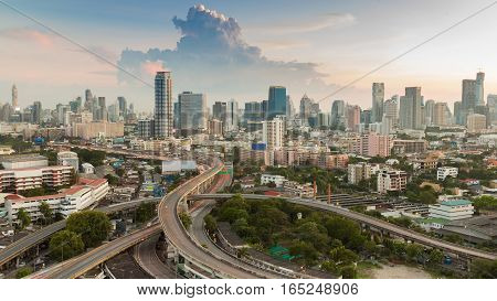 Bangkok city central business downtown with highway interchanged aerial view