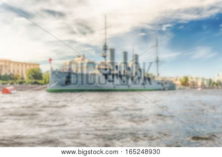 Defocused Background With Russian Warship, St. Petersburg, Russia