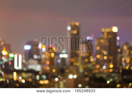 Abstract blurred lights office building city downtown night view