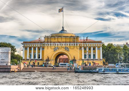 ST. PETERSBURG RUSSIA - AUGUST 27: Facade of the Admiralty Building as seen from the Neva River in St. Petersburg Russia on August 27 2016