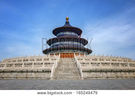 Temple of Heaven in Beijing, China under blue sky