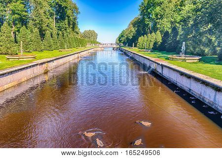 View Over The Sea Channel In Peterhof Gardens, Russia