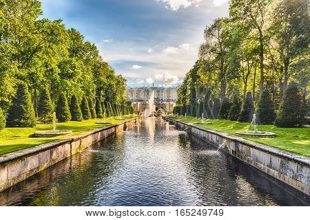 Scenic View Over Peterhof Palace And Sea Channel, Russia
