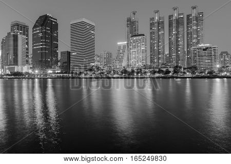 Black and White Office building night view river front