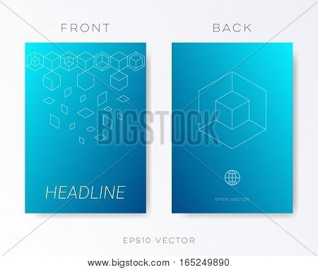 Minimalist blue modern brochure design template vector background