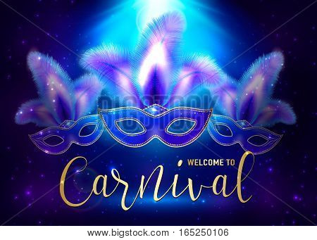Vector illustration of cartoon carnival background with Mardi Gras masks, light effect and text sign welcome to carnival