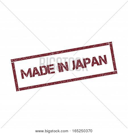 Made In Japan Rectangular Stamp. Textured Red Seal With Text Isolated On White Background, Vector Il