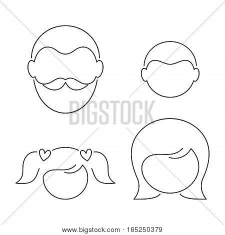 Black vector thin line family members minimalist icons