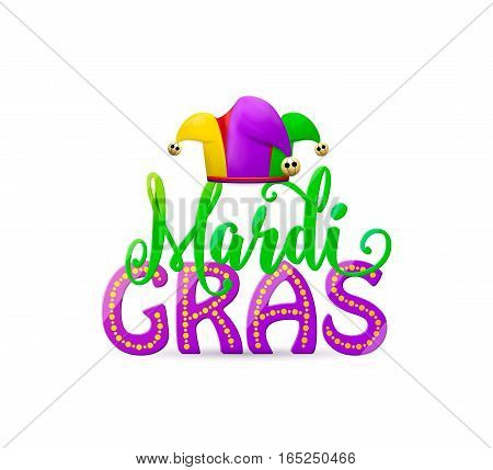 Vector illustration of cartoon Mardi Gras holiday text sign with masquerade jesters hat with gold round bells isolated on white background