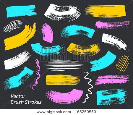 Colorful grunge vector art brush strokes collection isolated