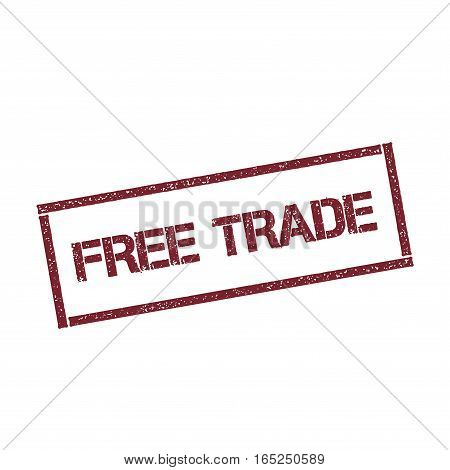 Free Trade Rectangular Stamp. Textured Red Seal With Text Isolated On White Background, Vector Illus
