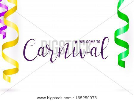 Vector illustration of carnival card with purple yellow green serpentine and text lettering sign isolated on white background