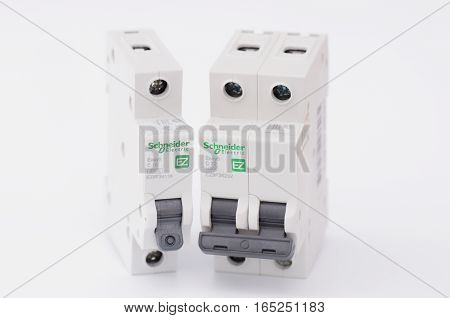 SARANSK, RUSSIA - JANUARY 13, 2017: Schneider Electric one and two-pole circuit breakers.