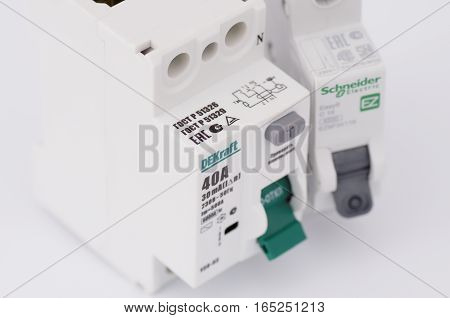 SARANSK, RUSSIA - JANUARY 13, 2017: DEKraft residual-current device and Schneider Electric one-pole circuit breaker.