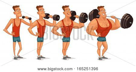Muscle building from a weakling to a steep pitching. Gradual development. Funny cartoon character. Vector illustration. Isolated on white background. Set