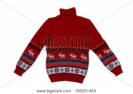 Red knitted sweater background with traditional design isolate on a white background