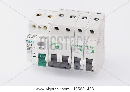SARANSK, RUSSIA - JANUARY 13, 2017: DEKraft residual-current device, Schneider Electric two-pole and one-pole circuit breakers.