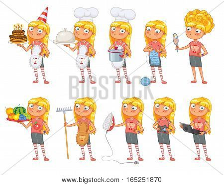 Baby girl stands in same pose and holds a various objects. Parts of body template for design work and animation. Funny cartoon character. Vector illustration. Isolated on white background. Set