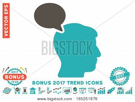 Grey And Cyan Person Opinion pictograph with bonus 2017 trend symbols. Vector illustration style is flat iconic bicolor symbols white background.