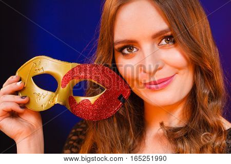 Closeup Woman Face With Carnival Mask On Dark