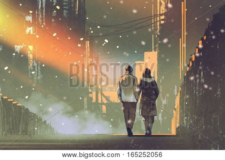 couple in love walking on street of city, illustration painting