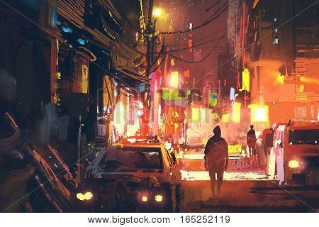 old street in the futuristic city at night with colorful light, sci-fi concept, illustration painting