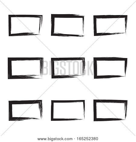 Set hand drawn rectangle, photo, foto frame. Text box from smears. Vector Black stroke border