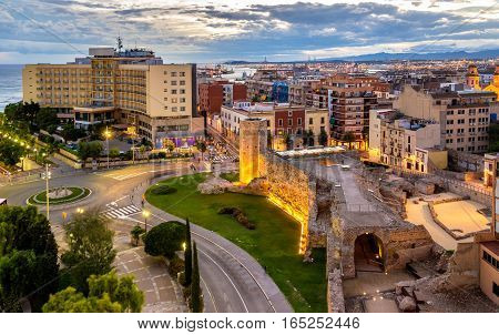 Scenic view of Tarragona with Roman Walls - Spain, Catalonia