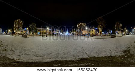 TÂRGU MUREȘ, ROMANIA - December 29, 2016: 360 panorama of a snow-covered Piața Trandafirilor (Roses' Square) in winter nighttime, town centre of Târgu Mureș, Romania