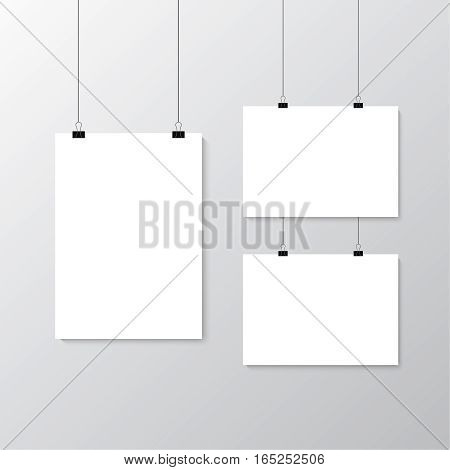 Image vector white poster hanging on binder. Grey wall with mock up empty paper blank. Layout mockup. Vertical and horizontal template sheet. poster