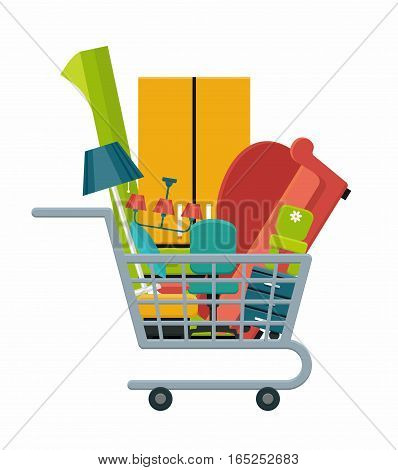 Shopping cart with furniture and interior items