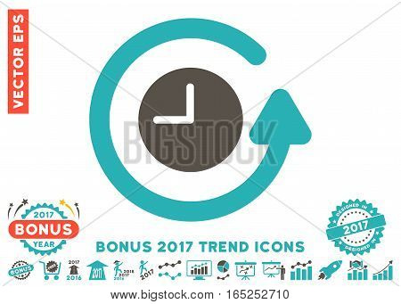 Grey And Cyan Restore Clock pictograph with bonus 2017 year trend images. Vector illustration style is flat iconic bicolor symbols white background.