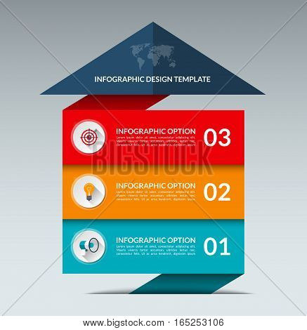 Infographic arrow design template. Business growth concept banner with 3 options, parts, stages. Can be used for web, diagram, graph, chart, report, step by step infographics. Vector background