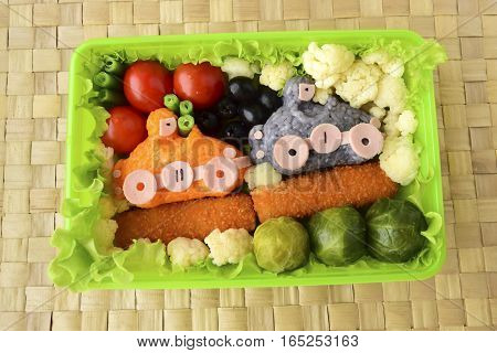 Cars it is made of rice. Kyaraben, bento. Creative food for children