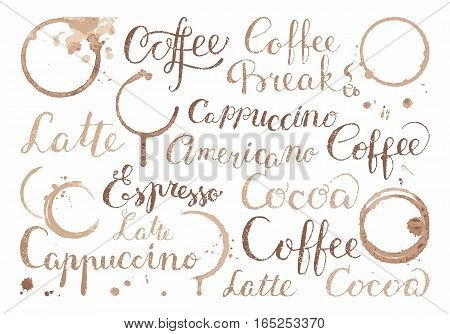 Background with words on the theme of coffee, drops and prints cups