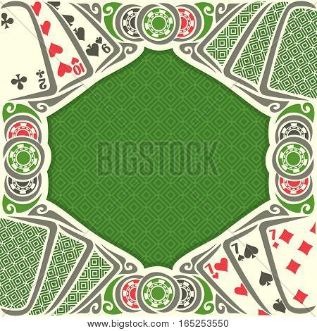Vector image Black Jack for text on texture background, combination cards suits: 7, 9, 10, 2 for gamble game black jack on green felt table, blackjack or poker tournament, chips and back card.