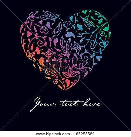 Colorful rainbow hand drawn heart with floral background. Greeting card, banner. Vector illustration