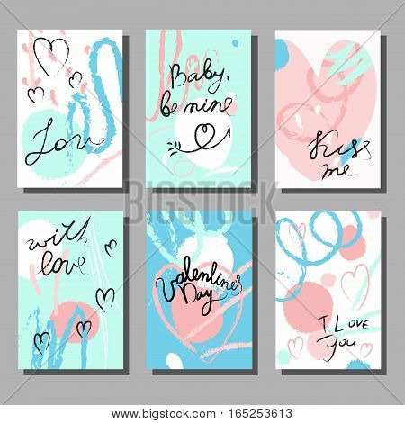 Valentine`s Day creative artistic cards set. Vector illustration. Wedding, love, romantic template