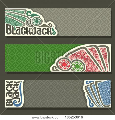 Vector horizontal Banner of Black Jack for text, blue cards back for gamble game blackjack on green felt table, cover banner for black jack, in header simple card, chips on texture background.