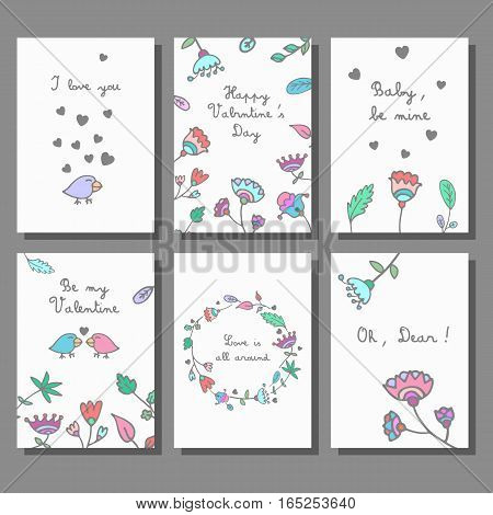 Set of Happy Valentines Day cards. Floral doodle design greeting cards. Vector illustration.