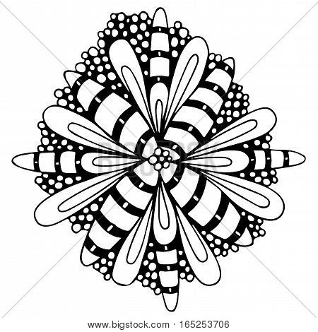 Mono color abstract flower with leaves. Black line art element for design.