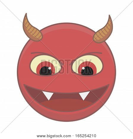Angry and aggressive demon red color on a white background