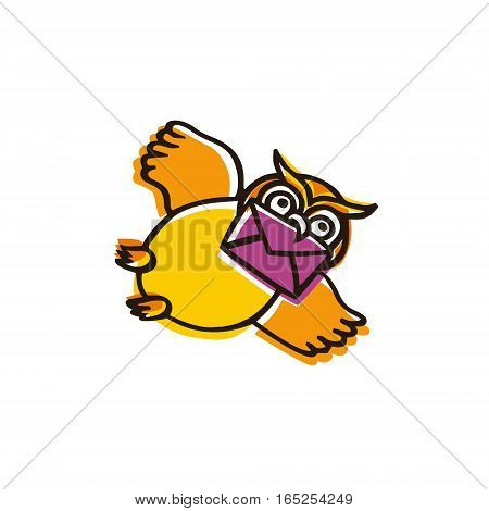 Funny illustration of flying owl with a letter isolated on white background. Сartoon owl character can be used as a logo or an icon for contact information at website