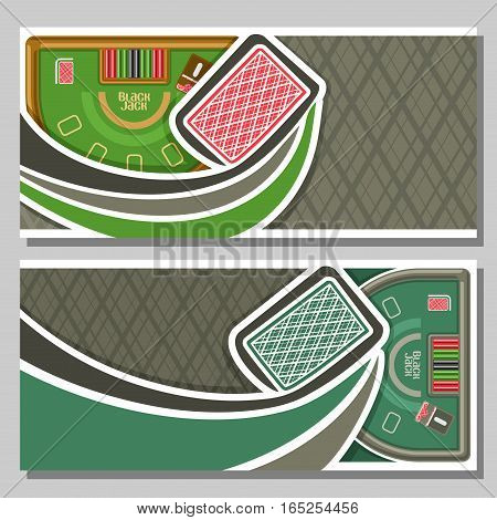 Vector horizontal banners of Black Jack for text: flying back card for gambling game on green blackjack table with equipment in casino club, layout banner for fun gamble black jack tournament.