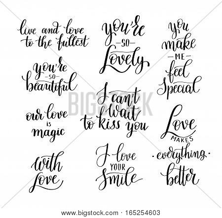 set of black and white hand written lettering about love to valentines day design poster, greeting card, photo album, banner, calligraphy vector illustration collection