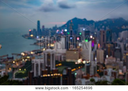 Blurred lights night view Hong Kong business area abstract background