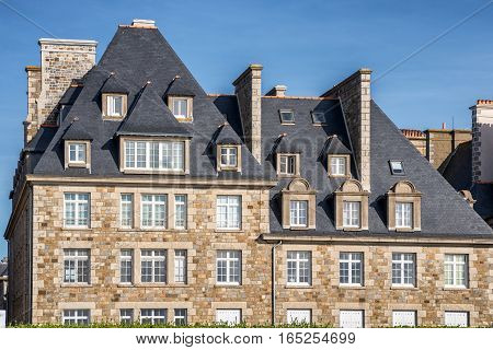 Privateer's ancient House, attractive buildings in Saint-Malo, Bretagne, France
