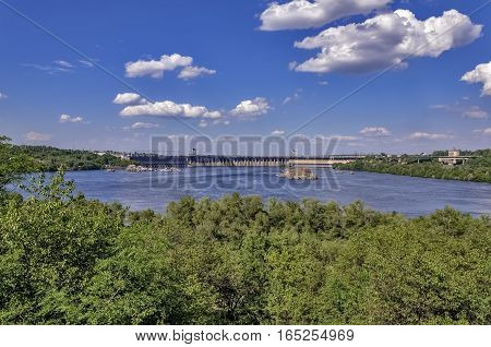landscape from the island Khortytsya Zaporozhye on hydroelectric power station on the Dnieper River in Ukraine