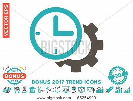 Grey And Cyan Time Setup Gear pictograph with bonus 2017 year trend pictograms. Vector illustration style is flat iconic bicolor symbols white background.
