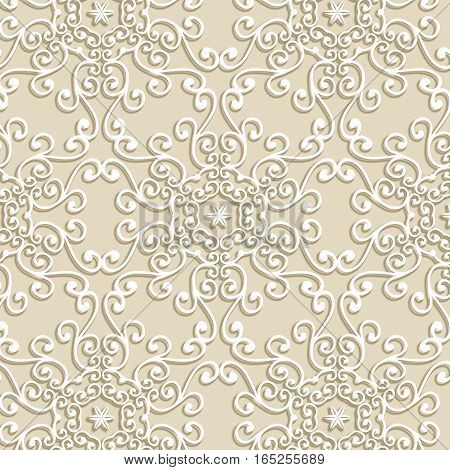 Vintage white delicate lace ornament pattern on a beige background